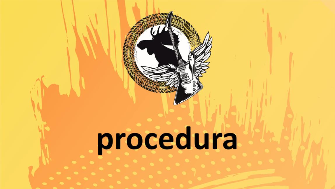 """na zdjęciu: motyw festiwalu (łoś i gitara ze skrzydłami) na żółtym tle z napisem """"procedura"""""""